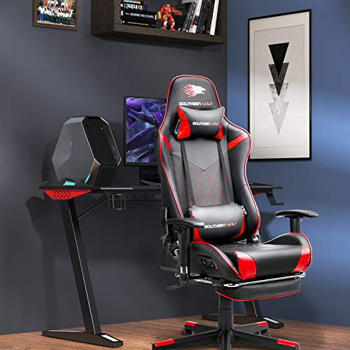 SOUTHERN WOLF Video Game Chair, Soft Leather Gaming Chair with Bluetooth Speakers, Racing Style Home/Office Chair with Footrest & Headrest, Ergonomic PC Game Computer Desk Chair with Lumbar Massage
