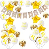 Sparkly God Bless Burlap Bunting Banner Baptism Cross Balloons God Bless Helium Balloons and Gold Confetti Latex Balloons for Boys Girls Baptism Christening First Communion Decorations Spring Easter Decorations