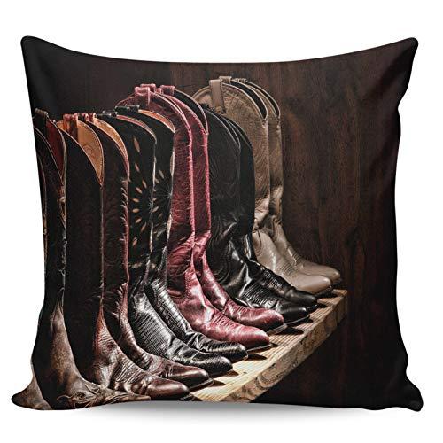 Winter Rangers Dekorativer Überwurf-Kissenbezug, Vintage-Stil, Cowboy-Lederstiefel, spitze Stiefel, ultraweich, bequem, quadratisch, für Sofa, Schlafzimmer, 45,7 x 45,7 cm