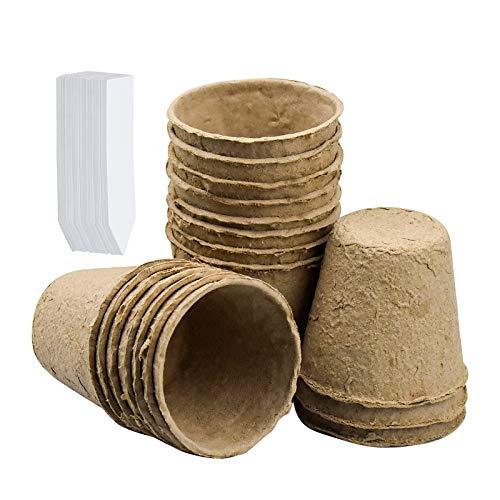 100 pcs Macetas Biodegradables Semilleros Biodegradables de 6 cm con 50 Etiquetas Biodegradable, Orgánico y Ecológico