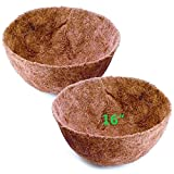 Y&M 2PCS 16 Inch Pre-Formed Round Coco Fiber Hanging Basket Liner, Coco Replacement Liner - 2pcs