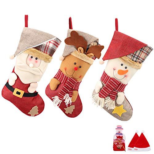SueH Design Weihnachtsstrumpf 3er Set 48cm, enthältet Weihnachtsmann Davidshirsch Schneemann 2 Weihnachtsmütze und 2 Geldbeutel