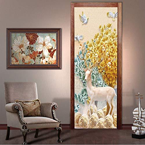 lili-nice Cerf Animaux Style Chinois par Autocollants Vert Arbre Art Home Decor en Bois en Acier De Rénovation Decal Adhésif Vinyle par Mural 77 * 200Cm