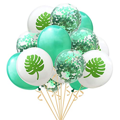Amycute Sommerfest Pary Dekoration, 15 Stück Leaf Pearl Latex Air Ballon mit Konfetti für Tropischen Sommer Party Supplies Luau Hawaii Thema Party mit Flamingo Ananas Helium Ballons.