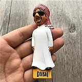 dingtian Imán de Nevera 3D Estéreo Árabe UAE Dubai Tío Turismo Recuerdo Resina Imán Refrigerador Foto Pasta Refrigerador Decoración