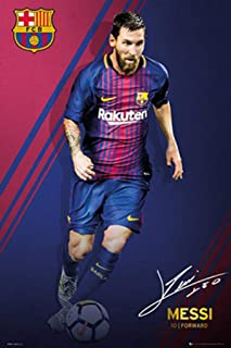 POSTER STOP ONLINE FC Barcelona - Sports/Soccer Poster/Print (Lionel Messi - Signature - 2017/2018) (Size: 24
