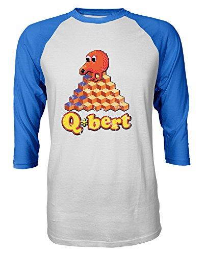 Q*Bert 80s Video Game Raglan Baseball Shirt, 3 Colors, S to XXL