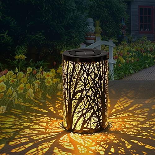 MOLVCE Solar Laterne Aussen LED Solarlampen für Garten Dekorative Hängende Gartenlaterne mit Lichtempfindlic, IP55 Wasserdicht für außen Weg Patio Terrasse, Hof (Typ B)