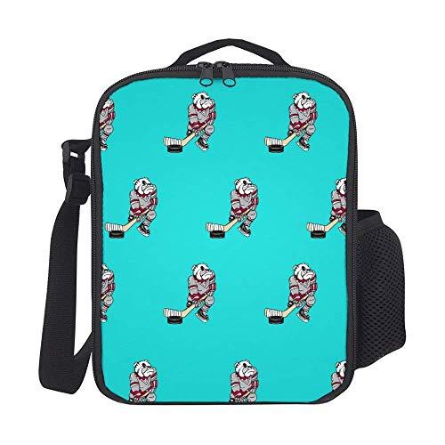Handtasche, Bull Dog Hockey Brotdose Lunch Bag Man Lunch Bag 20x26.5x11.5cm