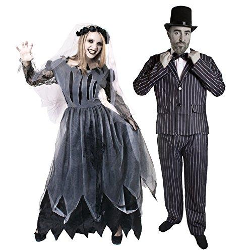 I LOVE FANCY DRESS LTD Paar Zombie Geister KOSTÜM VERKLEIDUNG=Braut & BRÄUTIGAM=Anzug+Fliege+Zylinder+Frauen SCHWARZES HOCHZEITSKLEID+Schleier=MÄNNER-XLarge & Frauen-XXLarge