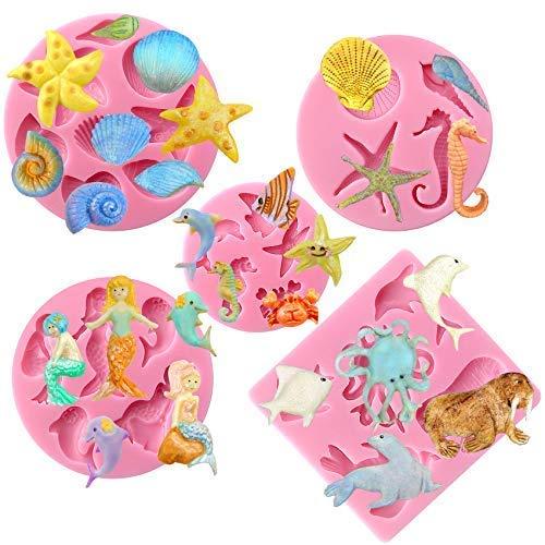 musykrafties Lot de 11 moules en silicone pour décoration de gâteau, cupcake, argile, savon, cire, projets d'artisanat
