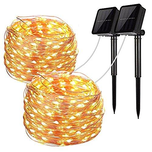 Solar String Lichter, 2 Pack 100 LED Solar Lichterkette 33 ft 8 Modi...