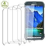 JEEXIA [4 Paquet Verre Trempé pour Samsung Galaxy S5 Active, Smartphone HD Transparent Screen Protector Trempé Protecteur...