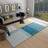 Moqueta Alfombra El Dormitorioes Moqueta Alfombra de Sala de Estar Azul Simple patrón geométrico Restaurante Dormitorio Oficina de alfombras Alfombras Dormitorio Matrimonio 50x80cm