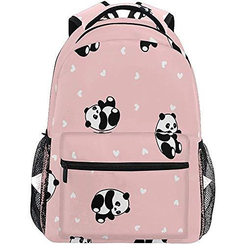 Boekentas Leuke Panda Animal Achtergrond met Harten voor Kids Mannen School Tassen Reizen Rugzakken Laptop Daypack Schoudertas Tieners Vrouwen Schooltas
