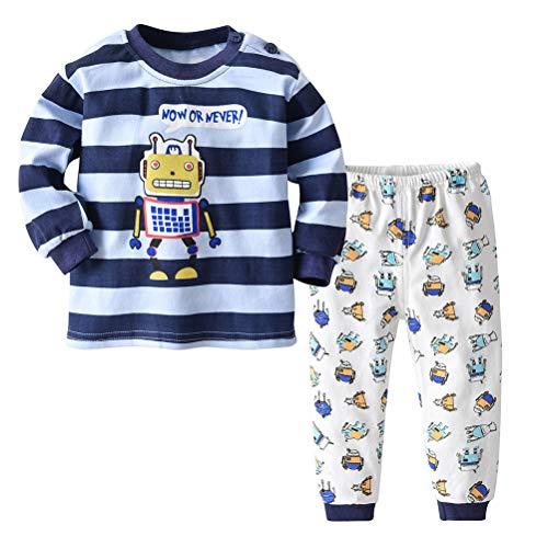 (0-4 AñOs) Pijamas Bebé Unisex Conjunto De Ropa Interior Infantil Hebilla De Homewear A Domicilio De AlgodóN Camiseta Manga Larga, Pantalones Ropa Casual De Cuatro Estaciones.
