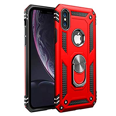 iPhone X Case   iPhone Xs Case [ Military Grade ] 15ft. Drop Tested Protective Case   Kickstand   Wireless Charging   Compatible with Apple iPhone X Case   iPhone Xs Case- Red