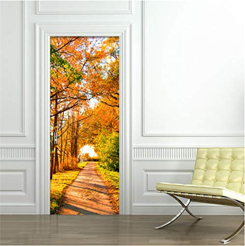 ZPCR Photo Wallpaper Custom 3D Maple Forest Path Mural Living Room Bedroom PVC Self-Adhesive Waterproof Door Sticker Papel De Parede