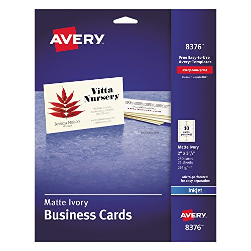 Avery 8376 Printable Microperf Business Cards, Inkjet, 2 x 3 1/2, Ivory, Matte (Pack of 250)