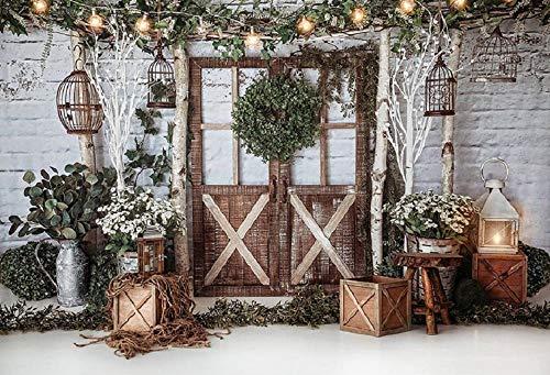 WaWbackdrop Habitación rústica de ladrillo blanco con fondo de madera para puerta de Navidad para estudio de fotografía, fondo de bebé, niños, sesión de fotos de Navidad, 2,2 x 1,5 m