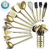 Berglander Juego de utensilios de cocina de acero inoxidable dorado, 13 piezas, juego de cucharas de cocina de titanio chapado en oro con soporte para utensilios, apto para lavavajillas