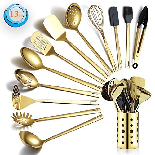 Berglander Gold Cooking Utensils Set, Stainless Steel 13 Pieces Kitchen Utensils Set with Titanium Gold Plating, Kitchen Tools Set with Utensil Holder, Dishwasher Safe, Easy to Clean