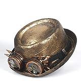 LHZUS Sombrero de cuero para hombre, sombrero de Fedora para hombre, sombrero steampunk, caballero, engranaje plano, gafas, sombrero superior, 2 tallas M L (color: dorado, tamaño: 57-58 cm)