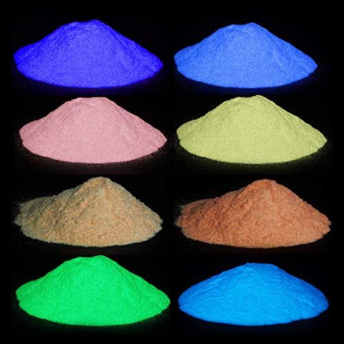 Wtrcsv Fluoreszierender Leuchtpuvler, Epoxidharz Leuchtpulver Mica Pulver, Farbe Pigment Farbpigmente für Epoxy Resin, Neon Farbpulver Glowpulver, 80g (8er×10g)