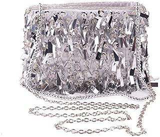 TWTAI Black Silver White Fashion Sequins Beaded Ms. Party Clutch Bag Clutch Bag Chain Bag 17.5 * 13 * 5cm (Color : Silver)