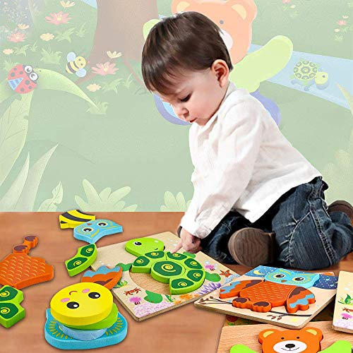 Toddler Puzzles, Jigsaw Puzzles Montessori Shape Toys 6 Pack for Kids Baby Brain Development