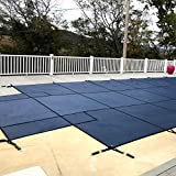 WaterWarden Inground Pool Safety Cover, Fits 18' x 36', Blue Mesh, Center End Step – Easy Installation, Triple Stitched for Max Strength, Includes All Needed Hardware, SCMB1836CS