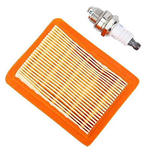 HERCHR Kit de Servicio de Filtro de Aire + bujía para Stihl FS120 FS200 y FS250 Desbrozadora, 4134 141 0300, 0000 400 7000, Plástico, Naranja