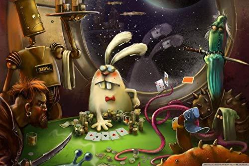 Luufei 500 piezasPuzzles de para Adultos, Puzzle de Paisajes, Puzzle Desafiante para Niños y Adultos, Puzzle de Cartón, Rompecabezas Art Pinturas Decoración Imagen Habitación,Ganador del póker
