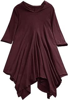 Women Hooded Blosue Solid 3/4 Sleeve Irregular Hem Casual Plus Size Loose Pullover Hoodie Tops Shirt