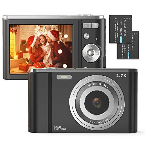 Digitalkamera 2.7K 44 Megapixel Full HD Fotoapparat digitalkamera Wiederaufladbare 2,88-Zoll-Fotokamera mit 16-Fach Digitalzoom-Kompaktkamera für Teenager-Anfänger (Violett)