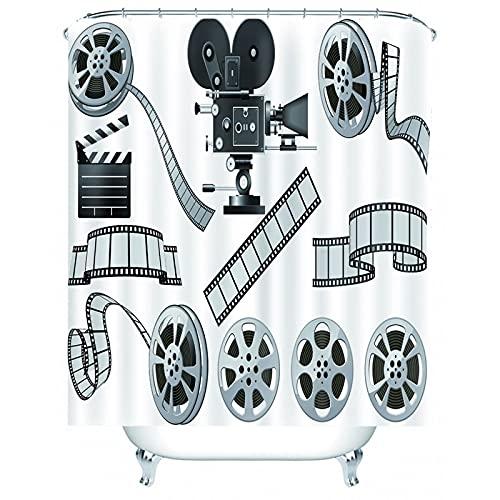 Bishilin Douchegordijn Washable, Filmrolletje Print Douchegordijnen met Ringen, Polyester, 180 x 180 cm, Zwart Grijs