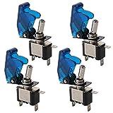 FULARR 4Pcs Professionale Auto Interruttore a Levetta, con Blu LED Indicatore Blu Impermeabile Copertura, ON-OFF 2 Posizione 3 Pin SPST Interruttore a Bilanciere, per Auto Camion Barca (20A/12VDC)