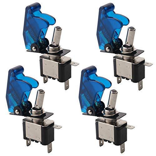 FULARR 4Pcs Profesional Coche Interruptor Palanca, Azul Impermeable Cubierta Azul LED Indicador, ON-OFF 2 Posiciones 3 Pines SPST Auto Conmutador Basculante, para Coche Camión Barco –– 20A / 12VDC