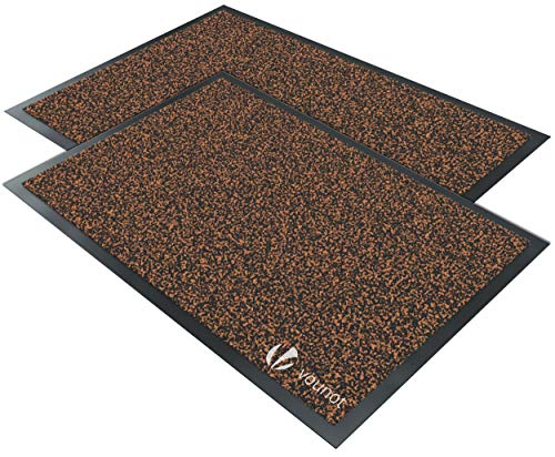 VOUNOT 2er-Set Schmutzfangmatte Waschbar, Fußmatte für Haustür Innen und Außen, Türmatte rutschfest, Braun-Schwarz, 40x60cm