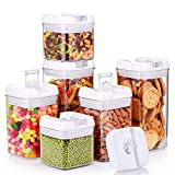Food Storage Container Airtight Cereal Sealed Pot Plastic Box Durable Transparent Keep Dry Fresh 6 Piece Set