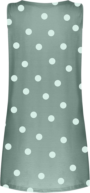 Sun Dresses Women Summer Sleeveless Women's V-Neck Printed Polka Dot Loose Casual Dress Vest Dress Womens Dresses