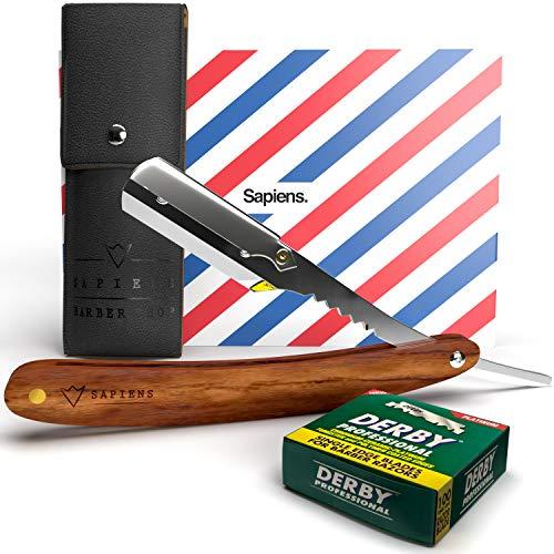 Rasiermesser set mit 100 Derby wechselklingen von Sapiens - Traditionelles bartmesser mit holzgriff + kunstleder-etui - Barber messer kit - Rasierer herren für bart-nassrasur - Wooden Straight razor