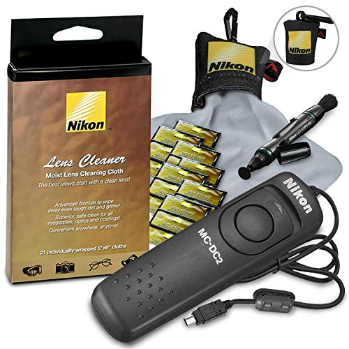 Nikon Cleaning Bundle Includes Nikon MC-DC2 Remote Release Cord, Nikon Moist Cloth Lens Cleaners + Nikon Lens Cleaning Pen + Nikon Micro-Fiber Lens Cleaning Cloth for All Cameras, Lens & Equipment