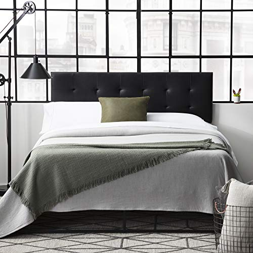 Everlane Home Hawthorne Faux Leather Headboard Platform, Full/Full XL, Black