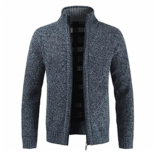 Chaqueta de punto para hombre, jersey de manga larga, jersey de punto sólido con botones y cremallera, jersey grueso de corte regular, sudaderas de manga larga para otoño e invierno, azul marino, XL