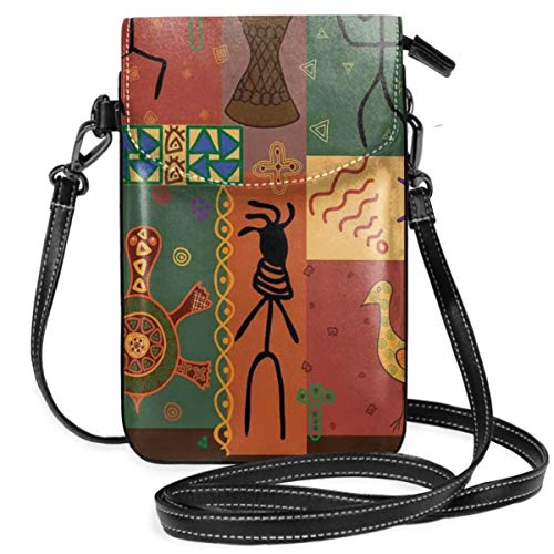 Women Small Cell Phone Purse Crossbody,Funky Tribal Pattern Depicting African Style Dance Moves Instruments Spiritual