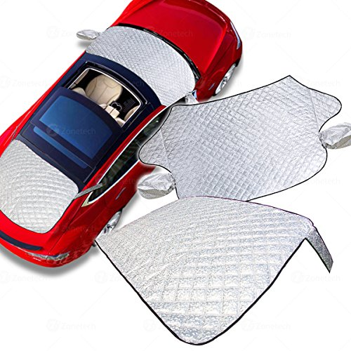 Zone Tech 2-Piece All Weather Windshield Cover Protector - Silver Premium Quality Summer Winter Rear and Front Windshield Cover Protector