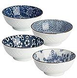 Y YHY - Set di 4 ciotole giapponesi in ceramica per cereali, zuppa, insalata, 473 ml, 4 de...