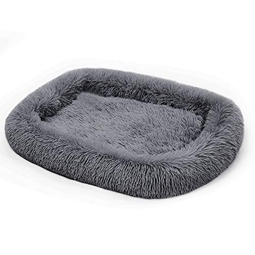 Neekor Plush Bolster Pet Bed, Crate Mat, Deep Sleeping Luxury Shag Fuax Fur Rectangle Pad for Dog and Cat, Machine Washable (25.619.7in, Dark Grey) Beds
