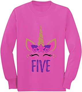 Gift for 5 Year Old Girl Unicorn 5th Birthday Toddler/Kids Long Sleeve T-Shirt